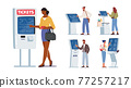 Set of Characters Use Self Ordering Service. Men and Women Using Info Kiosk, Order Food in restaurant, Withdraw Money 77257217