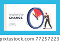 Business Working Process, Deadline Landing Page Template. Businessman Character Pushing Huge Clock with Burning Arrows 77257223