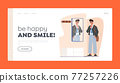 Man Going to Work Landing Page Template. Handsome Character Wearing Formal Wear, Sunglasses and Belt Bag front of Mirror 77257226