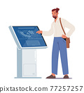 Character Using Info Kiosk Reading Information on Digital Interactive Device Screen with Area Plan. Man Visit Exhibition 77257257