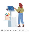 Contactless Payment, Contemporary Technologies. Female Character in Supermarket Stand at Checkout Self Service with Pos 77257263