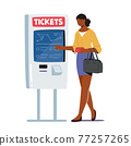 Character Use Self Ordering Tickets Service in Metro or Railway Station. Woman Choose Route on Digital Device Screen 77257265