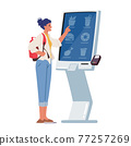 Character Use Self Ordering Food Service in Restaurant or Fastfood Cafe. Woman Choose Meals on Digital Device Screen 77257269