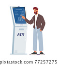Banking Transaction Service. Man Insert Password in Automated Teller Machine Equipped with Camera for Face Detection 77257275