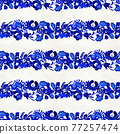 Blue floral seamless pattern in Russian gzhel background 77257474