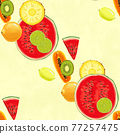 Hand drawn seamless pattern. Summer background with exotic fruits. 77257475