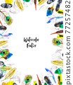 Watercolor frame with colorful feathers on white background 77257482