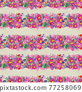 Seamless pattern with flowers. Watercolor or acrylic painting. Hand drawn floral background. 77258069