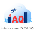 Businessman jump spring across the growing bar chart.Adversity Quotient concept vector illustrator. 77258665
