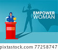 Businesswoman dream his shadow with empower women about Victory,Success, Leadership Career Concept Vector illustration. 77258747