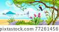 Summer jungle beach landscape, vector tropical island nature background, ocean, sand, toucan, liana 77261456