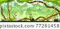 Jungle forest tree background, green wood vector landscape, leopard silhouette, bushes, vine, liana 77261458