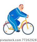 Grandfather riding bicycle park. Active old age, senior man lifestyle. Healthy senior athlete cycling. Happy fat retired man exercising while cycling. Cartoon vector illustration. 77262928