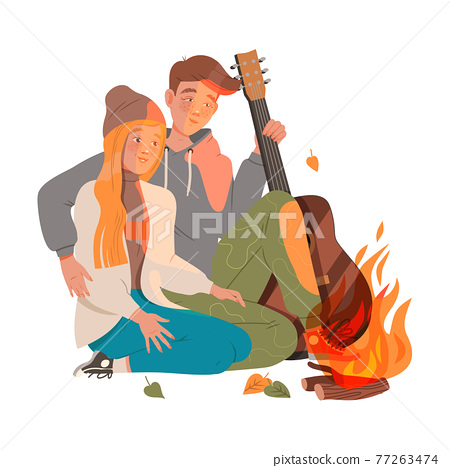 Happy Couple Sitting at Campfire with Guitar Embracing and Looking at Burning Fire Vector Illustration 77263474