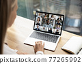 Multiracial employees talk on webcam zoom conference 77265992