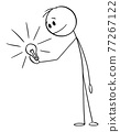 Person Looking at Shining Light Bulb in His Hand, Idea or Innovation, Vector Cartoon Stick Figure Illustration 77267122