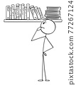 Person Choosing Book to Read From Bookcase, Vector Cartoon Stick Figure Illustration 77267124