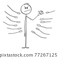 Man Holding Coin, Outstretched Palms or Hands Asking for Money , Vector Cartoon Stick Figure Illustration 77267125