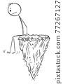 Man Sitting Alone Lost on Flying Rock, Vector Cartoon Stick Figure Illustration 77267127