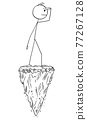 Man Standing on Rock Looking for Future or Opportunity, Vector Cartoon Stick Figure Illustration 77267128