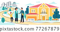 Mother and son buy or rent new country house or cottage. Realtor man signs a contract to sell the house, Moving to new home, vector illustration 77267879