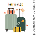 Travel bags, suitcases icon isolated on white background 77268034