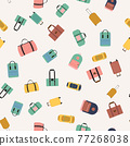 Seamless pattern background with travel bags, backpacks, suitcases isolated on white background 77268038