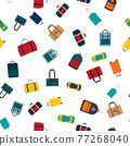 Seamless pattern background with travel bags, backpacks, suitcases isolated on white background 77268040
