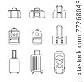 Icon collection set of travel bags, backpacks, suitcases isolated on white background 77268048