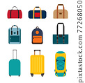 Icon collection set of travel bags, backpacks, suitcases isolated on white background 77268050