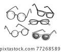 Ink sketch set of eyeglasses. 77268589