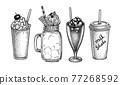 Ink sketches of beverages. 77268592