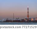[Keihin Industrial Area, Night View of Oil Refining Plant in Ukishima, Kawasaki City] 77271529