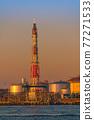 [Keihin Industrial Area, Night View of Oil Refining Plant in Ukishima, Kawasaki City] 77271533