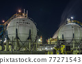 [Keihin Industrial Area, Night View of Oil Refining Plant and Gas Tank Factory in Ukishima-cho, Kawasaki City] 77271543