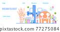 Rheumatoid arthritis. Tiny doctors treat rheumatism, osteoarthritis, make ultrasound, x ray. World arthritis day in October. Flat concept vector for landing page, banner 77275084