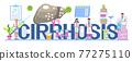 Hepatologist vector for medical website, landing page, header. Concept of hepatitis A, B, C, D, cirrhosis, world hepatitis day. Tiny doctors of hepatolog 77275110