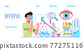 Conjunctivitis concept vector.Eye doctor concept for health care banner. Glaucoma treatment concept vector. Medical ophthalmologist eyesight check up with tiny people. Myopia, farsightedness 77275116