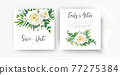 Elegant floral wedding invite, save the date card vector template set. Tender white yellow rose, beauty camellia flowers, greenery eucalyptus, green palm leaves, herbs. Watercolor bouquet illustration 77275384