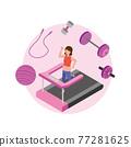 treadmill, exercise, female 77281625