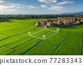 Land plot in aerial view for development or investment. 77283343