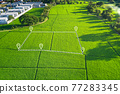 Land plot in aerial view for development or investment. 77283345