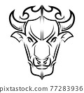 Line Vector Illustration front view of American Bison Buffalo 77283936