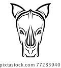 Line Vector Illustration front view of rhino 77283940