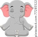 Cartoon elephant sitting and meditating 77285522