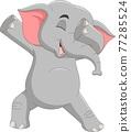 Cartoon funny elephant dabbing dance 77285524