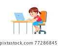 Children learn english online at home. Homeschooling and distance education for kids. Girl student study online with video call teacher. Cartoon vector illustration isolated on white 77286845