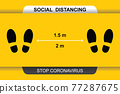 Keep your distance 1.5 or 2m. Social distancing avoiding vector image. Keep your distance in public to prevent coronavirus pandemic. Preventive measures in quarantine times. 77287675
