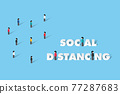 Social distancing or physical distancing to prevent virus spreading. illustrator Vector  77287683