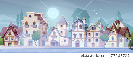 Medieval street with half-timbered houses in fog 77287727